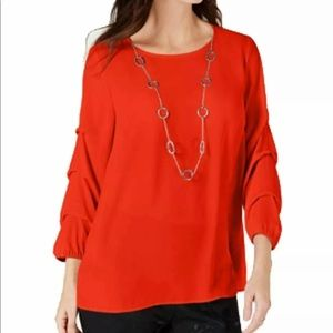 Red Statement-Sleeve Necklace Top
